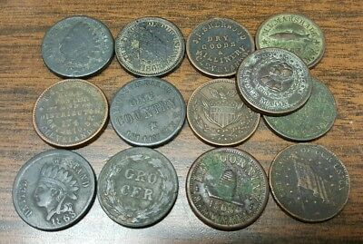 Old lot of 13 Scarce Civil War Tokens*****