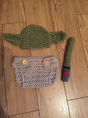 handmade crochet yoda outfit nappy cover light saber photo props fancy dress