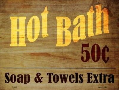 Hot Bath 50 Cents Soap And Towels Extra Novelty Metal Decorative Parking Sign