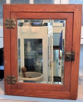 Antique Wood Surface Mount Medicine Cabinet Vintage Cupboard
