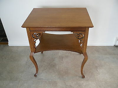 Antique  Quarter Sawn Tiger Oak Parlor Table/ Beading & Fret Work (Restored)