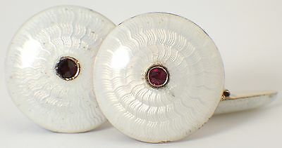 Imperial Russian 14 Ct Gold & Ruby Cufflinks - 56 Zolotnik Gold Cufflinks 1910