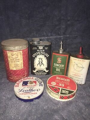 Lot Of 6 Vintage Tins- Silver Polish, Singer Sewing Oil, Glove Conditioner