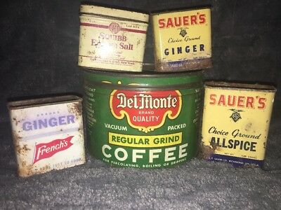Vintage Lot Of 5 Kitchen Tins-Delmonte, Sauer All Spice, French's Ginger