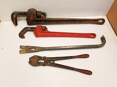 """Supreme Bolt Cutters, Ridgid 24"""" Pipe wrenches, Ridgid #17 Straight Hex Wrench"""