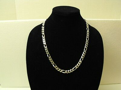 "HEAVY 925 STERLING SILVER 24"" FANCY 9.5mm FIGARO LINK CHAIN NECKLACE - 86.8 g"