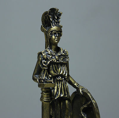 Athena Statue Wisdom Goddess Greek Roman Effigy Bronze Finish Figurine Decor