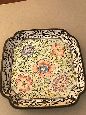 Antique Chinese Enamel Pin Dish On Copper c1895