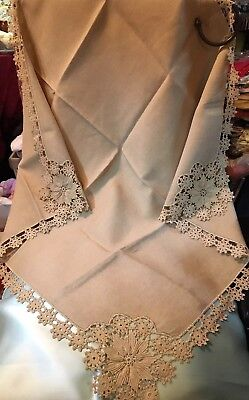 c1920s Tablecloth~English Chain Lace Edge & Trim~Pure Natural Linen~35.5 x 37.5""