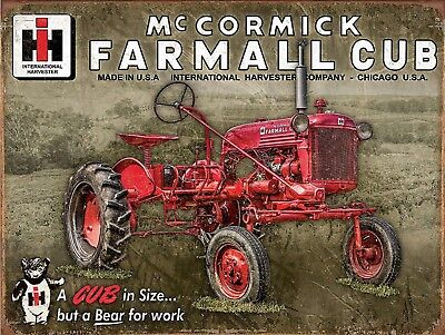 "McCormick FARMALL Cub International Harvester Tractor Retro Vintage Sign 9""x12"""