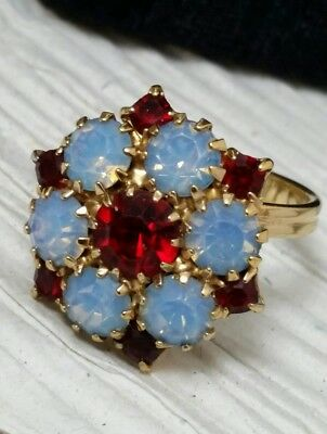 Vintage High End Designed Quality Opalite Red Rhinestone Cocktail Ring Size 8.5