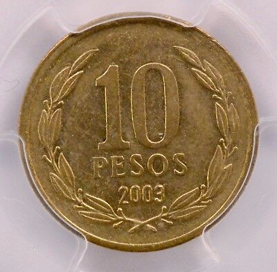 """PCGS Chile 2003 10 Peso Struck with 2 Reverse Dies """"Two-Tailed"""" MS-62"""