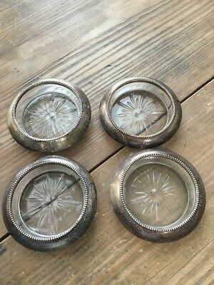 Vintage 'frank M.whiting & Co.' Sterling Silver & Cut Glass Set Of 4 Coasters Ex