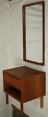 Modern Danish Design Mid Century - TEAK NIGHT STAND/ BEDSIDE TABLE + MIRROR