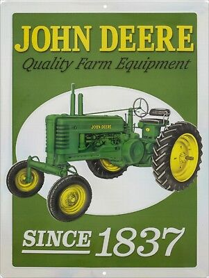JOHN DEERE Quality Farm Tractor Quality Since 1837 Retro Vintage Sign 9x12