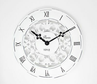 Shabby Chic Wall Clock Vintage French Style Antique Cream Paris New