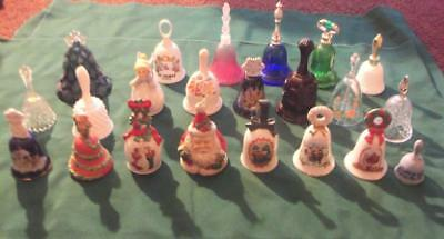 Collection (20) Glass Crystal Christmas  Fenton Frosted  Ringing Glass Bells