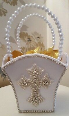White  First Holy Communion Confirmation Bag Basket With And Without Petals
