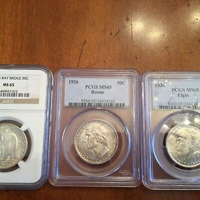 """""""collector's Coins"""" Three (3) Silver Commemoratives, Pcgs Ms-65, Ngc Ms-65,nr $1"""