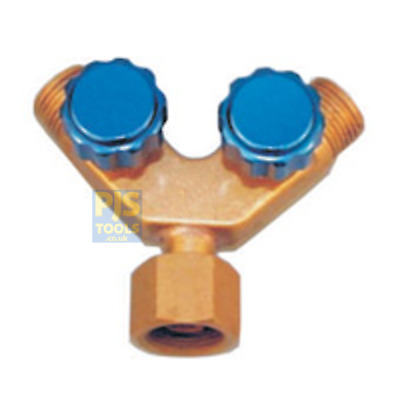 Gas hose Y piece twin outlet connector valve branch Oxygen Right or Fuels Left