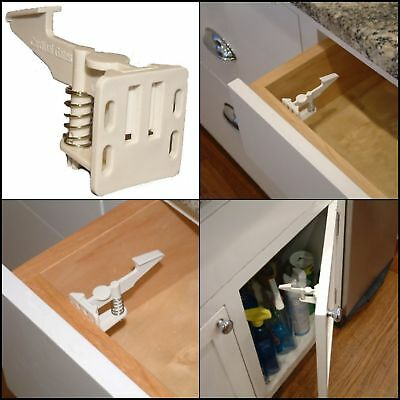 X4 Baby Safety Cabinet Latches Child Lock Proof Wide Door Drawer Invisible Latch