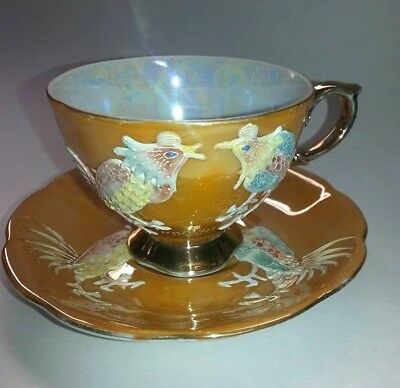 Vintage Shafford Hand Decorated Japan Moriage 3D Rooster Cup&saucer Luster Gold
