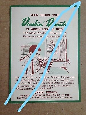 Vintage 1960's Dunkin' Donuts Franchise Inquiry Reply Mailer Folding Postcard