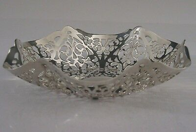 RARE CHANNEL ISLANDS SOLID STERLING SILVER PIERCED BOWL DISH 1993 95g HAND MADE