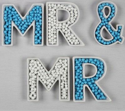 MR & MR Ceramic Alphabet Dishes for Gay Wedding/Table Decoration / Lolly Buffet
