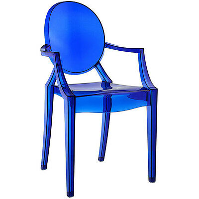 MODERN GHOST CHAIR with Arms in Transparent Crystal Blue