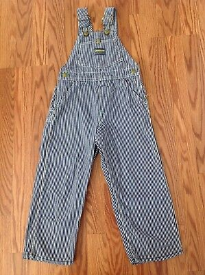 Vintage Union Made Sanforized Kids Boys Osh Kosh Vestback striped overalls USA