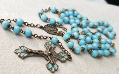 Antique Vintage  Blue Glass Rosary With Crucifix