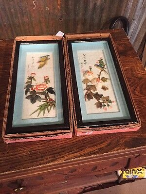 """VINTAGE PAIR OF ASIAN SWATOW SHELL CUTTING PICTURES 5 1/2""""X 12"""" Lot 2"""