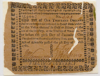March 1781 Virginia Continental Currency One Thousand Dollars  Good