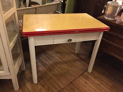 Vintage Enamel Top Draw Leaf Kitchen Table W Drawer 1940 S Dining Island Red 350 00 Picclick