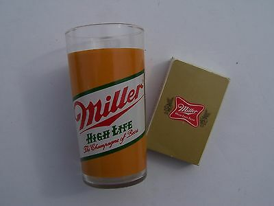 Miller High Life Vintage Glass & Card Deck Collectibles