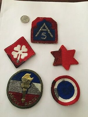 Lot Of 5 Ww2 Shoulder Patches