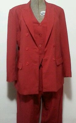 SAGA RED PINSTRIPE POWER SUIT 80's 'OVER' SIZE 10 to 16 RETRO VEST JACKET PANTS