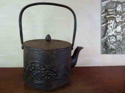 Japanese Antique KANJI old Iron Tea Kettle Tetsubin teapot Chagama 2321