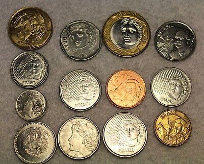 set of 13 different coins from Brazil