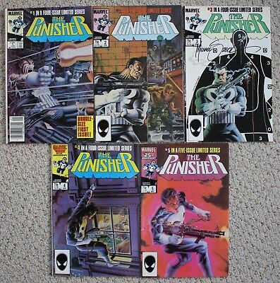THE PUNISHER #1 2 3 4 5 (Complete Limited Mini Series 1-5) Marvel Comics 1985 VF