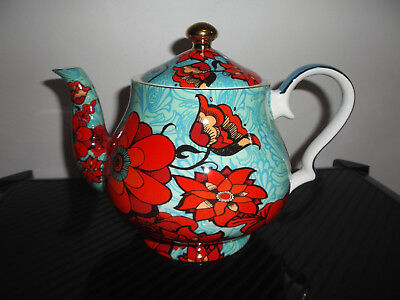 """Brand New """"t2"""" Floral Teapot With Tea Leave Separator** Fine Bone China"""