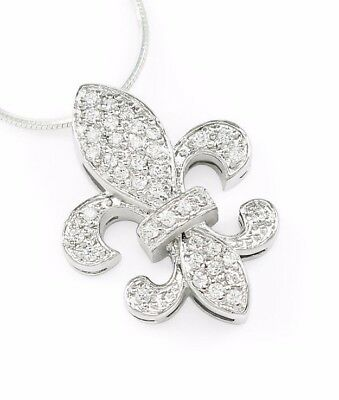 French Inspired Flower- Fleur De Lis Pendant- Sterling Silver with CZ | **New!!!