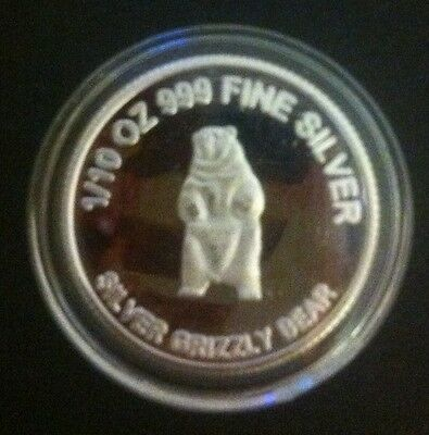 """Silver Grizzly Bear"" 1/10th OZ 999.0 Solid Silver Bullion Coin (Gr8 Investment)"