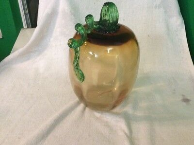 Hand Blown  Art Glass Pumpkin Gourd .