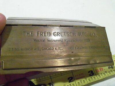 Vintage Antique Brass Fred Gretsch Mfg Co Name Plate Guitars,musical Instruments