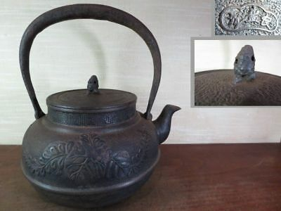 Japanese Antique KANJI old Iron Tea Kettle Tetsubin teapot Chagama 2325
