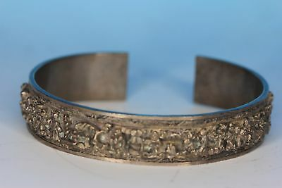 Fine Chinese Deeply Carved Silver Antique Bangle