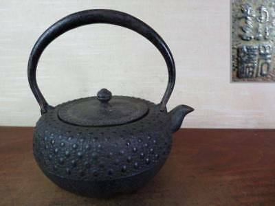 Japanese Antique KANJI old Iron Tea Kettle Tetsubin teapot Chagama 2326