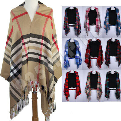 Oversized Blanket Plaid 100% Cashmere Scarf Shawl Wrap Scotland Wool